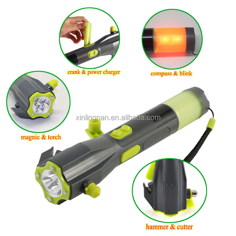 Car LED Flashlight/Torch Alarm Emergency Hammer Safety Belt Cutter,Multi-function Auto Tool Kit