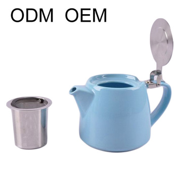 stump ceramic teapot with stainless steel lid and strainer