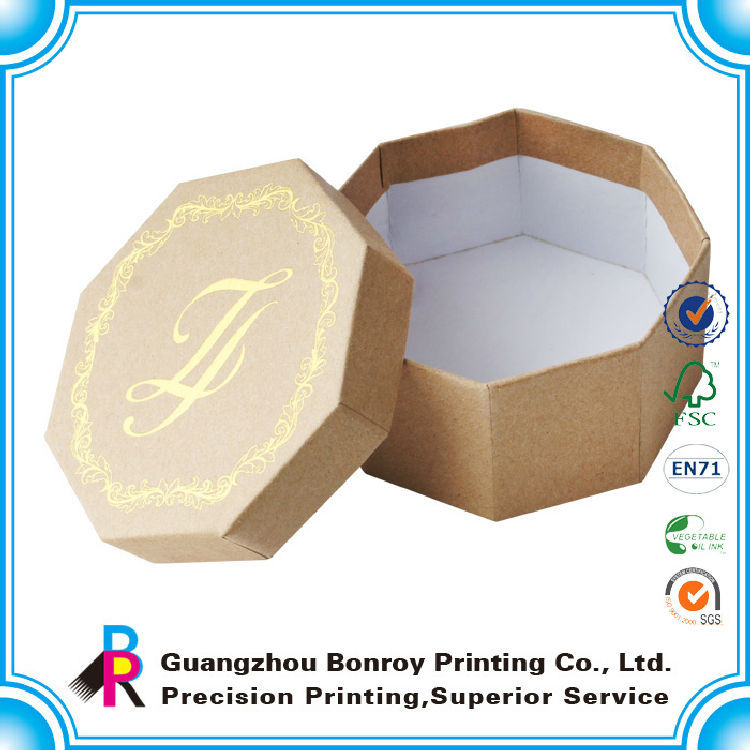 China supplier low cost unusual gold hot stamping for polygon kraft paper gift box