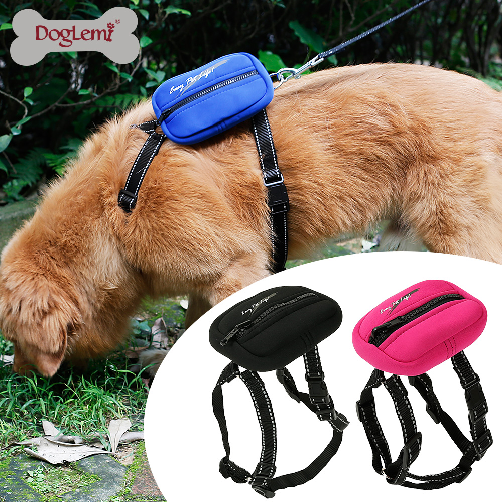 Reflecting Nylon H-Style Pet Product Dog Harness Leash Set with Pocket Large Pet Harness
