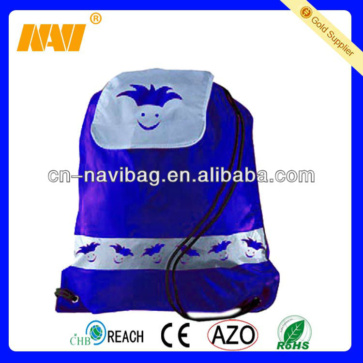 210D promotional drawstring backpack /promotional drawstring bag with flap on top (NV-DR040)