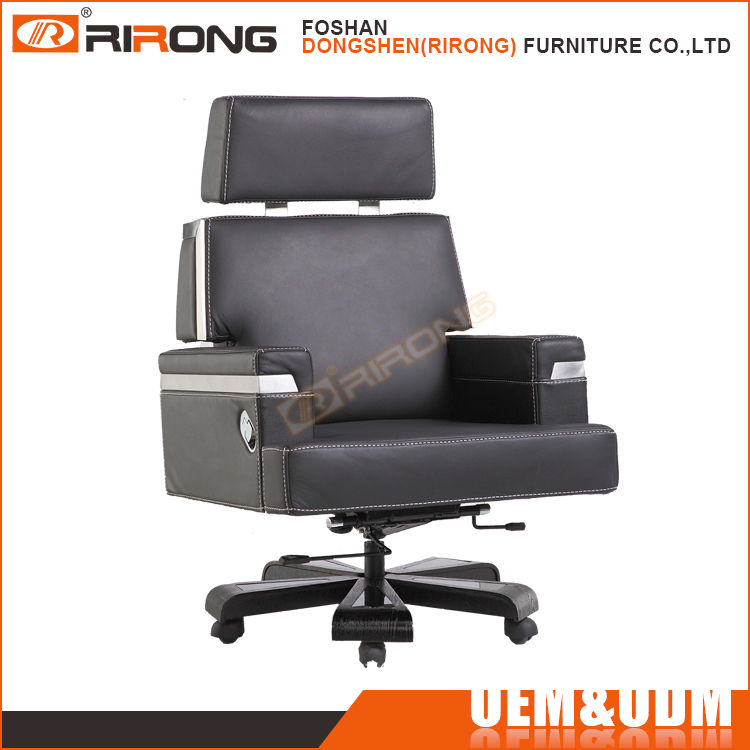 High End Genuine Leather Executive Office Chair , Swivel Lifting Recline Boss Chair with Headrest