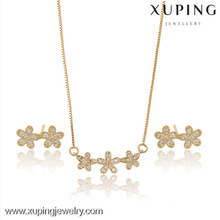 63719-Xuping Elegant Cute Girls Flower Charming Set Jewelry With CZ Stone