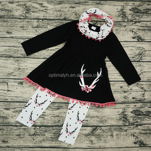 Girls boutique ruffle clothing sets 3pcs deer print long sleeve kids pompom set