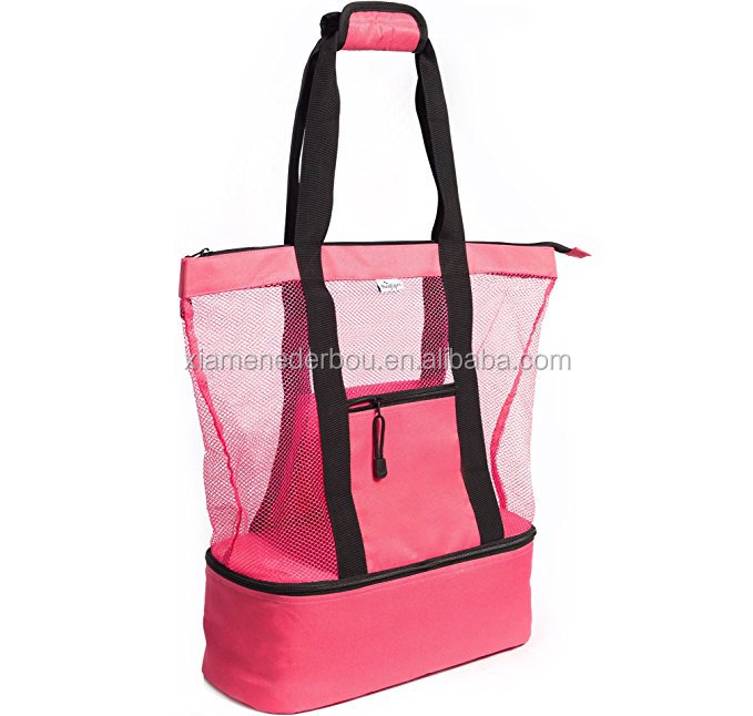 Pink Mesh Beach Tote Bag for Women w Insulated Picnic Cooler and Zipper Top - Large