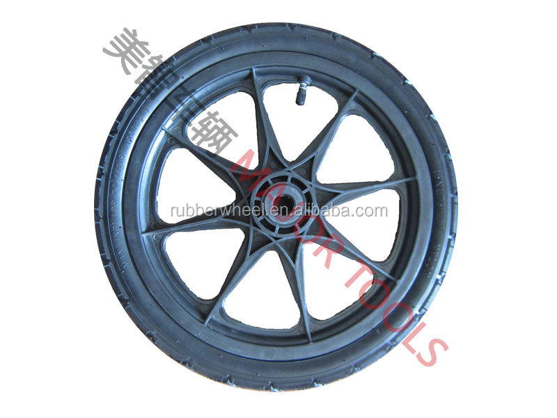 16 inch pneumatic rubber trailer wheel with plastic rim for stroller