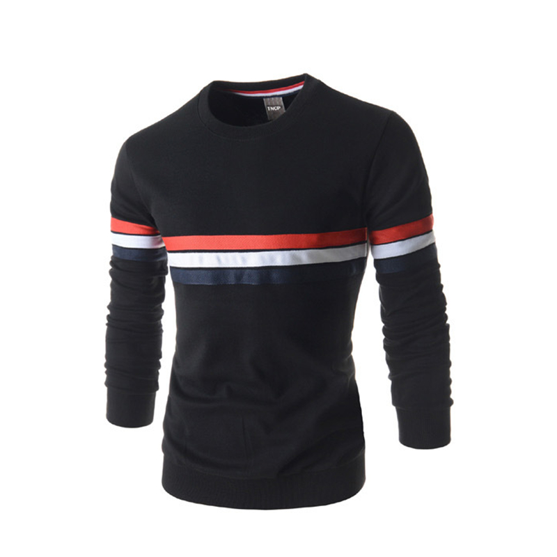 Summer Style Mens Tee Shirts Long Sleeve Shirts Streetwear Striped Slim Solid O-Neck Fitness Sport Man Clothing Cotton Top