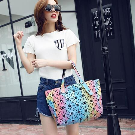 New Bao bao women pearl bag Diamond Lattice Tote geometry Quilted shoulder bag 3D Rainbow color handbags women