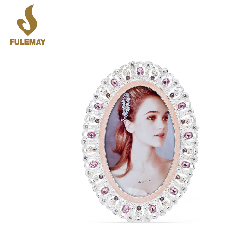 oval hollow style classical bling metal picture photo frame for ladies