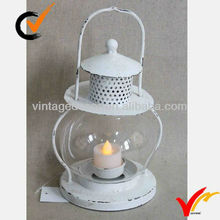 Glass Hurricane Vintage Metal White Candle Lantern