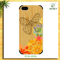 Engrave bamboo cell phone case, 3D paint for iphone 5c case bamboo