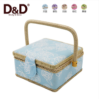 Dongzheng Cotton Fabric Container Homes wooden storage trunk box with handle Containers sewing basket gift baskets sewing kit