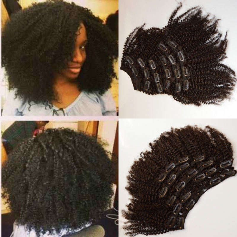 clip in malaysian curly hair extensions 7 pcs afro kinky curly remy clip on weave clip in human hair extensions for black women