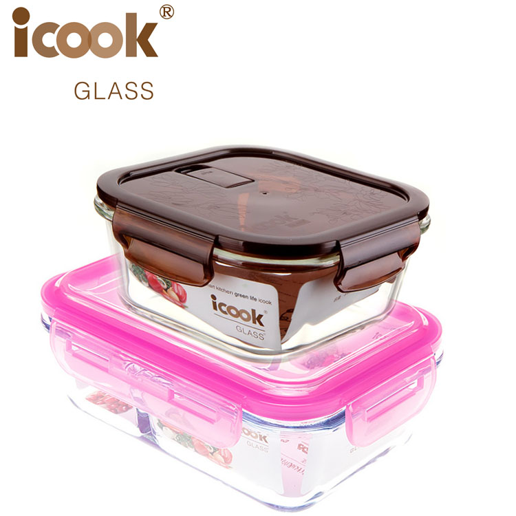 Japanese Bento Lunch Boxes Take Away Food Container Large Capacity Glass Bins