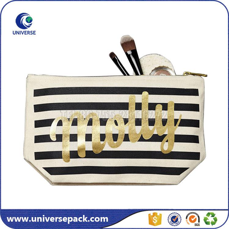 Custom Size Travel Zipper Canvas Cosmetic Brush Pouch With Gold Logo