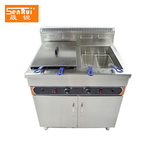 High capacity free-standing KFC equipment 2 tanks stainless steel commercial deep gas fryer