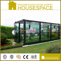Fast Built High Quality Beautiful Flat-pack prefabricated glass house