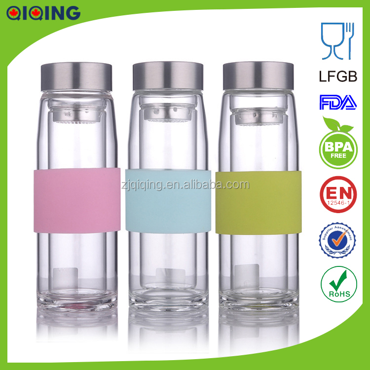 Hot sale unique double glass bottle glass water bottle hd for Unique glass bottles