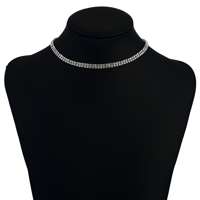 New fashion simple crystal rhinestone necklace european popular statement choker necklace