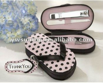 """Pink Polka Flip Flop"" Five Piece Pedicure Set bridal favor"
