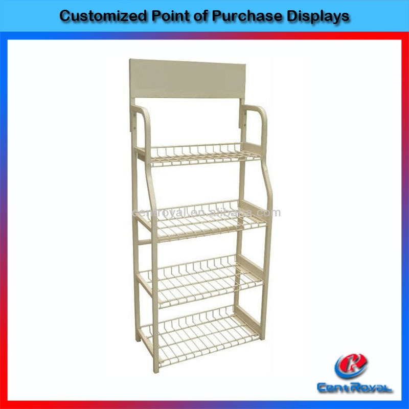 Fashion 4-tier supermarket metal bread cake display stand
