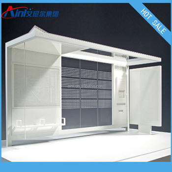 Hot sale modern metal bus shelter price with scroll light box for advertising