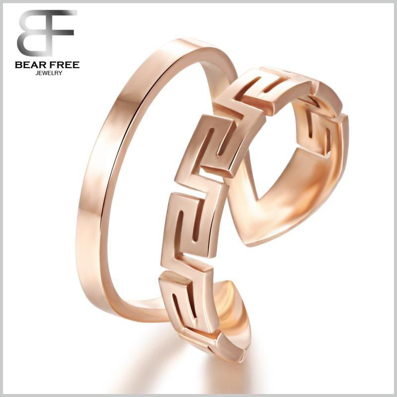 Womens Vintage Titanium Stainless Steel the Great Wall Shape Rose Gold Open Ring Double Halo Finger Band