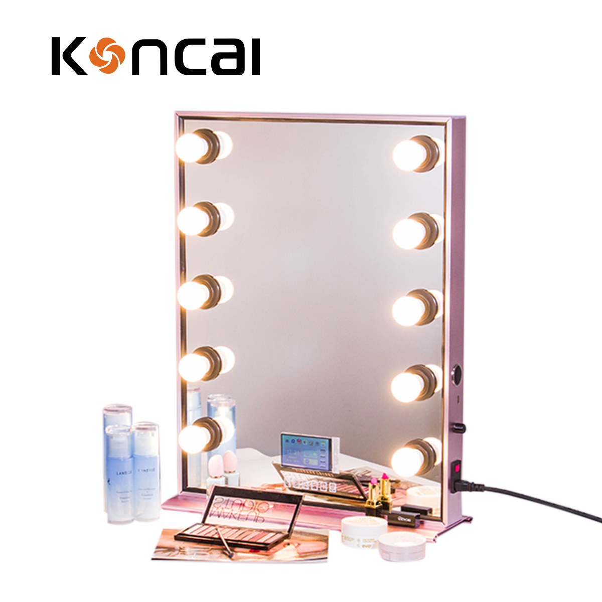 Koncai Unique Style of Makeup Mirror With MP4 Video Rose gold Mirror for Salon
