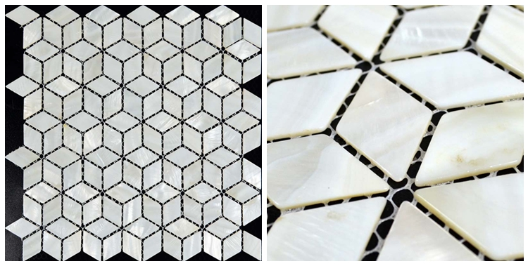 Shell Mosaic Mother Of Pearl Tiles Mesh Mounted