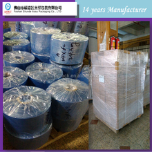 super clear blowing heat self adhesive transparent blue pvc shrink film