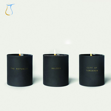 Modern Geometric Ceramic Porcelain Walden Matte black Candle Jar with black lid