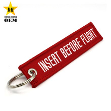 airline airport gift custom embroidery insert before flight keychains