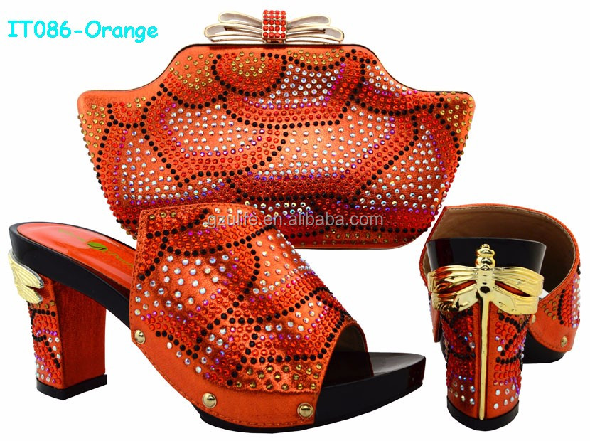 Latest African Style Ladies Designer Matching Shoes And Bags with Multi Color Stones in Orange Color (IT086)