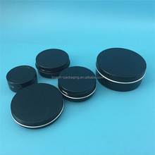 glossy/matte black round cosmetic aluminum tin jar,1oz/2oz/3oz/4oz/5oz aluminum containers for hair wax and pomade