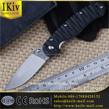 custom ontario hunting carbon fiber tactical plain edge outdoor camping folding pocket survival knife