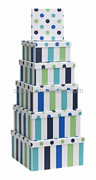 Gift Boxes - Blue Stripes/Spots Sqaure Nest of 6 Square
