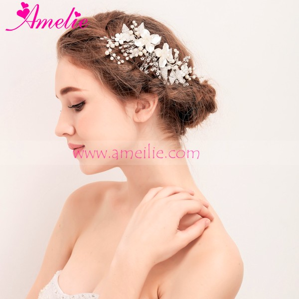 2017 New Tiny Beaded Pearl and Crystal Flower Hair Comb Accessories for Graduation Party