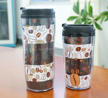 double wall plastic promotional coffee mug with advertising paper insert travel drink cup