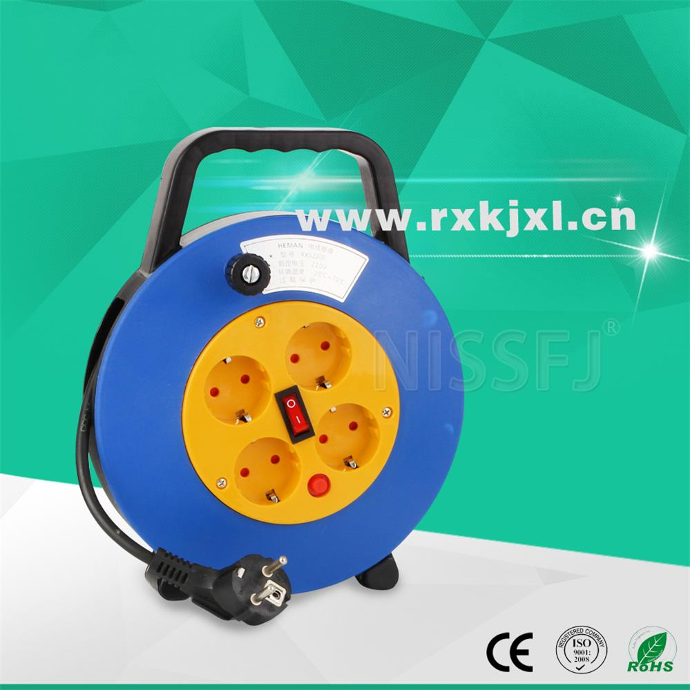 China electric reel 220V 4 sockets plastic small Cable Reel mechanism automatic retractable cable reel