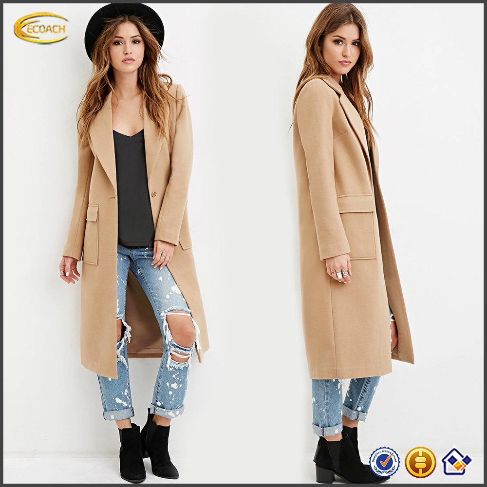 Ecoach American Europen style autumn winter long sleeve single-button closure long coat model women's Classic Duster long Coat