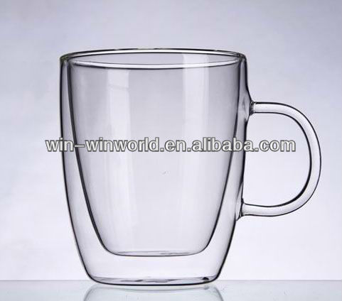 Promotional Clear Handle Borosilicate Double Wall 350ML Glass