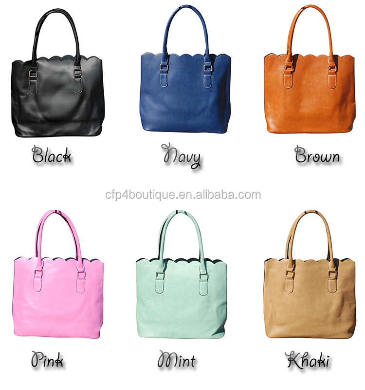 CFP B073 Stocked PU Scallop Leather Tote