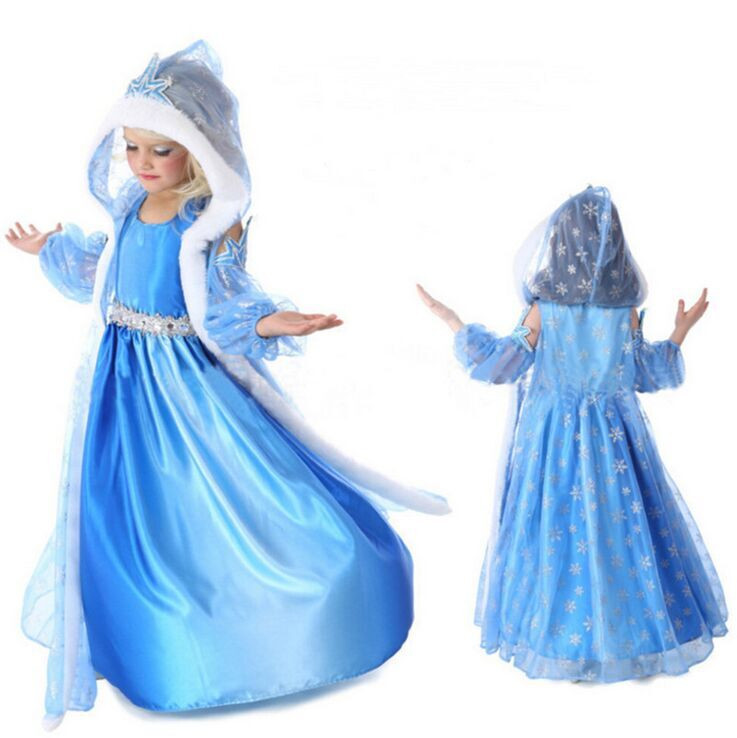 (Party) Children Customize Clothes Fall\Winter Cute Frozen Elsa Retro Princess Dress Long Sleeve Velour Blue Long Maxi Dress