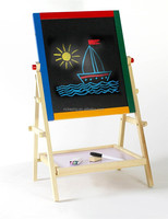 2 in1 Kids Standing Double Sided Black/White board Wooden Easel Chalkboard, used easel stand