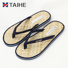 weave raffia grass mens flip flops cool summer beach indoor outdoor slippers men rubber