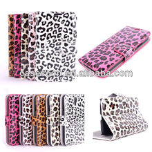 For Samsung S4 Leather Case,Leopard Leather Case For Samsung Galaxy S4 i9500 Wallet Case With Stand