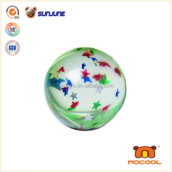 Wholesale 45mm stars water ball, TPU glitter bouncing ball, led ball lights