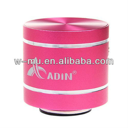 Pink Professional mini bluetooth speaker for beat with TF card and FM radio function