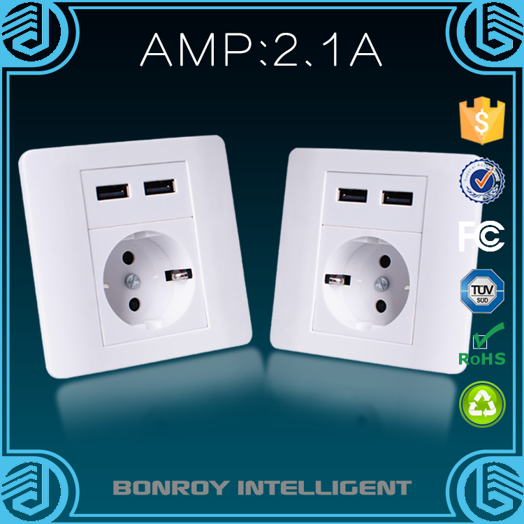 China supplier 2016 new products dual usb 220v electrical wall switch eu socket