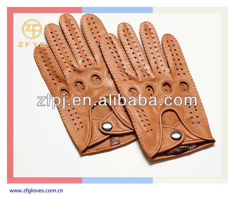 Cheap price leather driving gloves with snap closure and finger holes